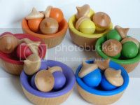 Waldorf Acorns &amp; Bowls Rainbow Sorting Set