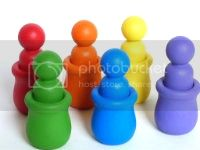 Waldorf Rainbow Peg People in Pots Set